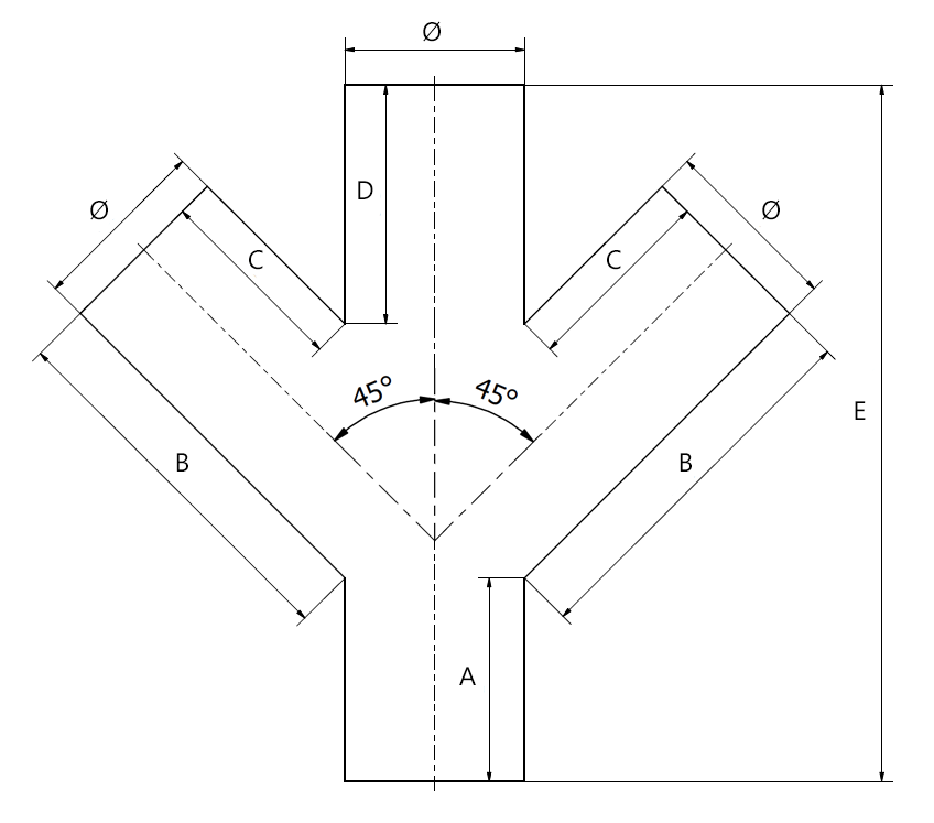STBD - double branch pipe drawing. Measurement - see table.